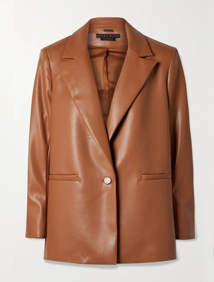 """'Dunn' vegan leather blazer by Alice + Olivia, $678.38 at [Net-A-Porter](https://fave.co/3cqjdWH