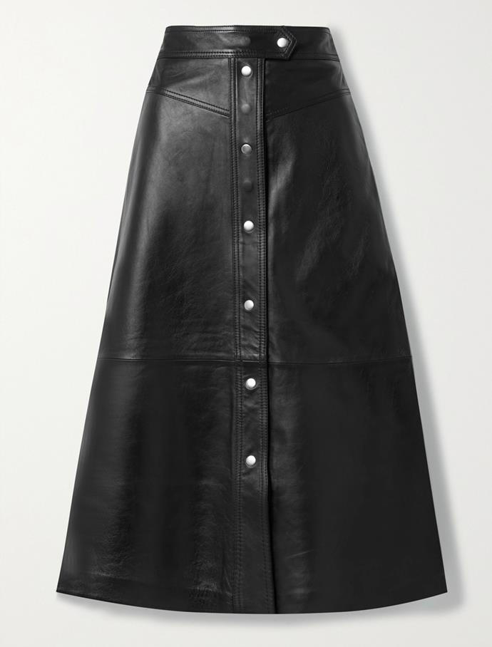 """'Gianna' leather midi skirt by Stand Studio, $778.32 at [Net-A-Porter](https://fave.co/3qA8led