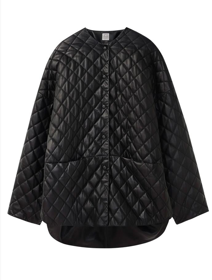 """Black Quilted Jacket by TOTÊME, $810 at [SSENSE](https://fave.co/3bCFL7y