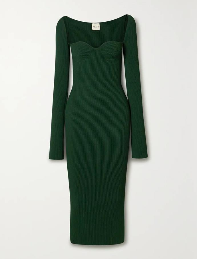 """'Beth' ribbed-knit midi dress by Khaite, $1380 at [Net-A-Porter](https://fave.co/3rS8YBn