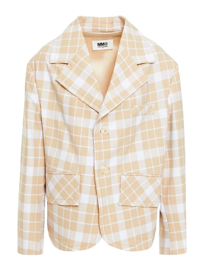 """Checked crepe blazer by MM6 Margiela, $614 at [The Outnet](https://fave.co/3cuc6wO