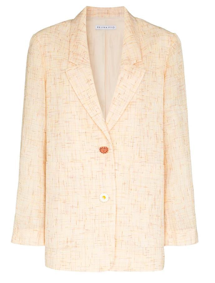 "Tweed boxy blazer by Rejina Pyo, $1004 at [Farfetch](https://fave.co/2OIx0Qy|target=""_blank""|rel=""nofollow"")."