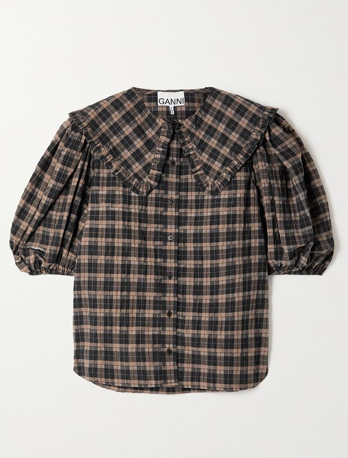 """Ruffled checked organic cotton-blend seersucker blouse by Ganni, $205 at [Net-A-Porter](https://fave.co/30OkamF