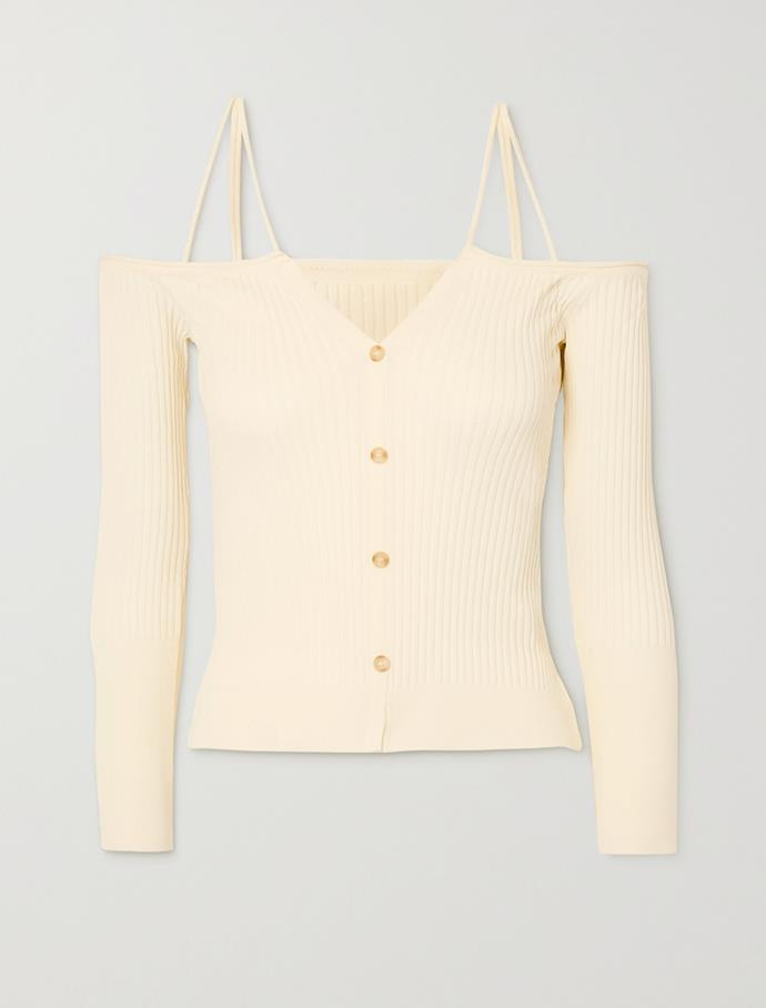 "'Tordu' off-the-shoulder cutout cardigan by Jacquemus, $380 at [Net-A-Porter](https://fave.co/3rJDLjI|target=""_blank""|rel=""nofollow"")."