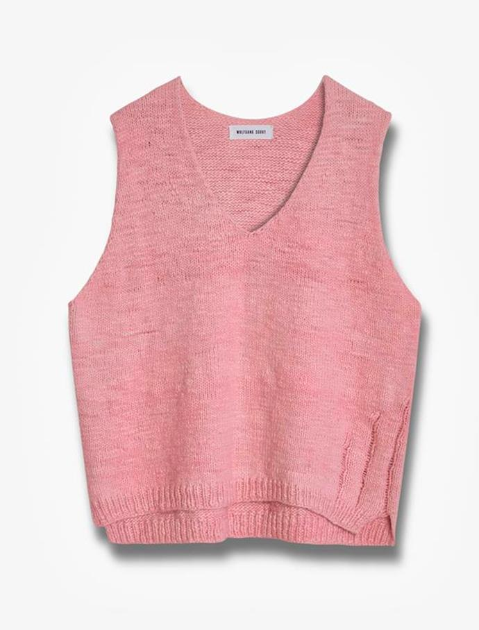 """Handknit layering tank by Wolfgang Scout, $720 at [Wolfgang Scout](https://fave.co/3coCmbJ