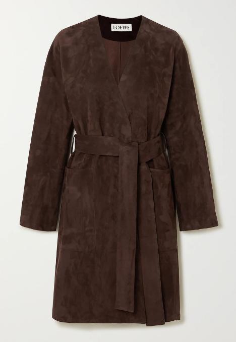 Loewe Brown Belted Suede Coat, $4,960