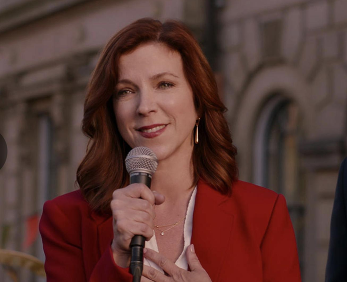 **Sabrina Grdevich as Cynthia Fuller**<br><br>  Canadian actress Sabrina Grdevich plays Cynthia Fuller, a mother and real-estate agent who is running against Paul for mayor. She has previously held roles in the TV series *Kim's Convenience*, *Hudson & Rex*, *The Girlfriend Experience* and more.<br><br>  *Image: Netflix*