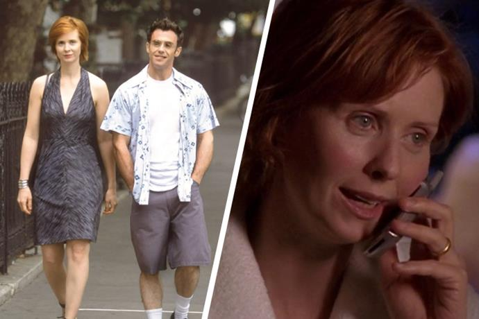 **Miranda Hobbes & Steve Brady** <br><br> The ever pragmatic and frank Miranda ends up proposing to longterm boyfriend Steve over cheap beers after the pair witness an elderly couple bickering on the streets of New York City. We don't ever get to see Steve gift Miranda a ring, but in later episodes it's unsurprising to see the nontraditionalist lawyer opted for a simple gold band.