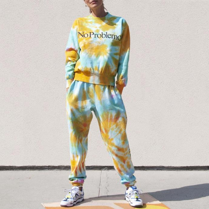 """Pretty sure this was The One. The tie dye tracksuit that started it all. The colour palette, the gently positive """"No Problemo,"""" the sweet hand-dyed 100% cotton goodness. Brain says, """"you are a pawn of late-stage capitalism"""" heart says """"please... I want this and no DIY can compare.""""<br><br>  *Aries Arise No Problemo Tie Dye Crew Sweat, $348 currently on sale for $244 from [Mytheresa](https://go.skimresources.com?id=105419X1569491&xs=1&url=https%3A%2F%2Fwww.mytheresa.com%2Fen-au%2Faries-no-problemo-tie-dye-sweatshirt-1476647.html target=""""_blank"""" rel=""""nofollow""""). Aries Arise No Problemo Tie Dye Sweatpants, $319.95 currently on sale for $191.97 from [Juicestore](https://go.skimresources.com?id=105419X1569491&xs=1&url=https%3A%2F%2Fjuicestore.com%2Fcollections%2Faries%2Fproducts%2Fno-problemo-tie-dye-sweatpants-sqar30014-multi target=""""_blank"""" rel=""""nofollow""""). (Many retailers are low in stock so have a Google for a deal!)*"""