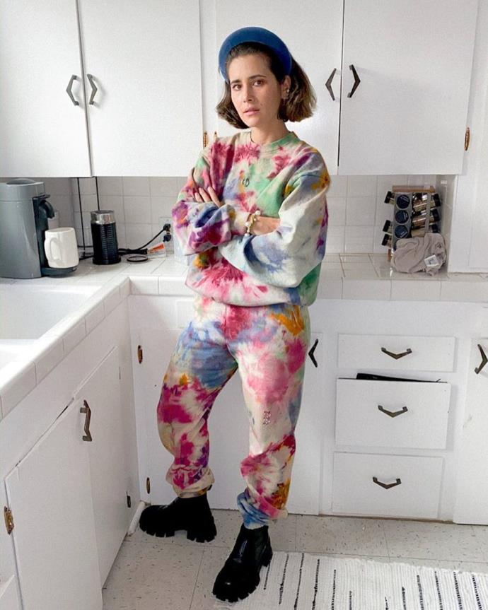 """This tracksuit comes from good folks at KkCo, and are hand-dyed by the designer herself. Lovingly made in Los Angeles, this colourway is a little moodier. We're particularly into the small piercing details in the chest and thigh, it says """"I am a pacifist, but don't test me.""""<br><br>  *Pierced Sweat Shirt in Tie Dye, approx. $293 from [KkCo](https://go.skimresources.com?id=105419X1569491&xs=1&url=https%3A%2F%2Fwww.kkcostudio.com%2Fproducts%2Fpierced-crewneck-sweatshirt-in-7420c-tie-dye%3Fvariant%3D31791219998786 target=""""_blank"""" rel=""""nofollow""""). Pierced Sweatpant in Tie Dye, approx. $293 AUD from [KkCo](https://go.skimresources.com?id=105419X1569491&xs=1&url=https%3A%2F%2Fwww.kkcostudio.com%2Fproducts%2Fpierced-sweatpant-in-7420c-tie-dye%3F_pos%3D6%26_sid%3Da9c33c7f7%26_ss%3Dr target=""""_blank"""" rel=""""nofollow"""").*"""