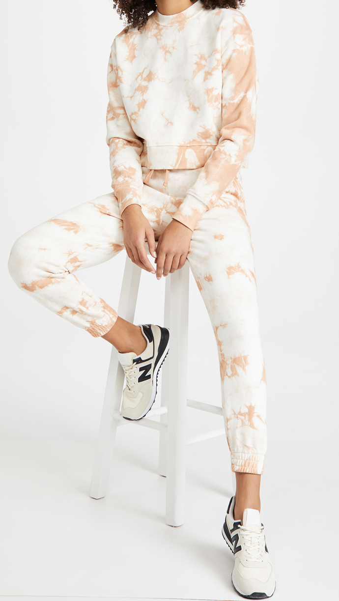 """For an easy to wear tie dye tracksuit option, look no futher than this understated set by Jonathan Simkhai STANDARD.<br><br>  *Jonathan Simkhai STANDARD Tie Dye Cropped Sweatshirt, $190.14 from [Shopbop](https://go.skimresources.com?id=105419X1569491&xs=1&url=https%3A%2F%2Fwww.shopbop.com%2Ftie-dye-cropped-sweatshirt-jonathan%2Fvp%2Fv%3D1%2F1536146627.htm%3Ffm%3Dsearch-viewall-shopbysize%26os%3Dfalse%26searchClick%3Dtrue%26searchResultClicked%3DTie%2BDye%2BCropped%2BSweatshirt%26ref_%3DSB_PLP_NB_23%26breadcrumb%3DInternal%2520Search target=""""_blank"""" rel=""""nofollow""""). Jonathan Simkhai STANDARD Tie Dye Sweatpants, $190.14 from [Shopbop](https://go.skimresources.com?id=105419X1569491&xs=1&url=https%3A%2F%2Fwww.shopbop.com%2Ftie-dye-sweatpants-jonathan-simkhai%2Fvp%2Fv%3D1%2F1565288881.htm%3Ffm%3Dsearch-viewall-shopbysize%26os%3Dfalse%26searchClick%3Dtrue%26searchResultClicked%3DTie%2BDye%2BSweatpants%26ref_%3DSB_PLP_NB_22%26breadcrumb%3DInternal%2520Search target=""""_blank"""" rel=""""nofollow"""").*"""