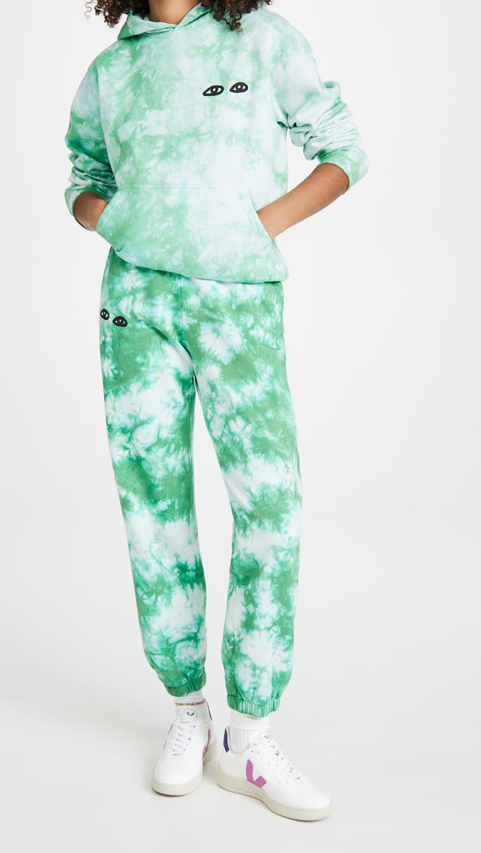 """While tie dye has inherently good vibes, they're only made better by cute illustrations in our eyes.<br><br>  *Clare V. Tie Dye Eyes Hoodie, $260.95 from [Shopbop](https://go.skimresources.com?id=105419X1569491&xs=1&url=https%3A%2F%2Fwww.shopbop.com%2Ftie-dye-eyes-hoodie-clare%2Fvp%2Fv%3D1%2F1587190240.htm%3F target=""""_blank"""" rel=""""nofollow""""). Clare V. Tie Dye Eyes Sweatpants, $216.36 from [Shopbop](https://go.skimresources.com?id=105419X1569491&xs=1&url=https%3A%2F%2Fwww.shopbop.com%2Ftie-dye-eyes-sweats-clare%2Fvp%2Fv%3D1%2F1526319047.htm target=""""_blank"""" rel=""""nofollow"""").*"""