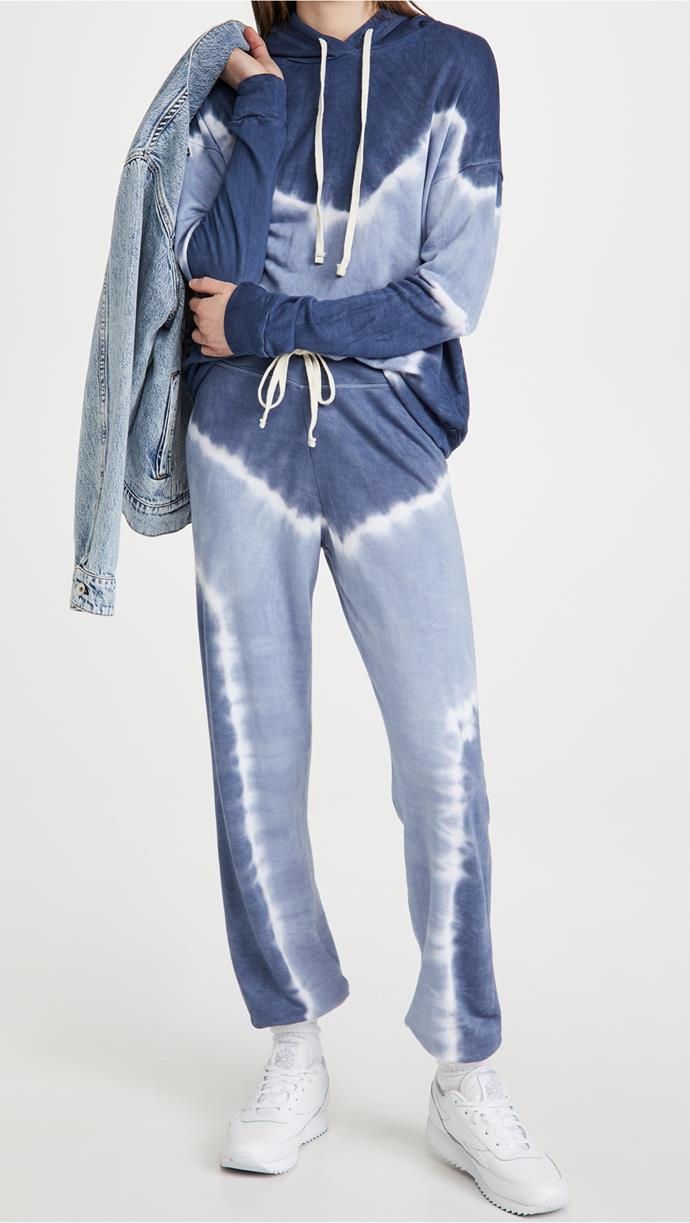 """This clean, colourblock tie dye french terry set is a little bit lighter, for winter days when you don't need the electric blanket and heater pumping simultaneously.<br><br>  *Sundry Basic Hoodie, $183.58 from [Shopbop](https://go.skimresources.com?id=105419X1569491&xs=1&url=https%3A%2F%2Fwww.shopbop.com%2Fsp21-l89td7-basic-hoodie-sundry%2Fvp%2Fv%3D1%2F1542610515.htm target=""""_blank"""" rel=""""nofollow""""). Sundry Sweatpants, $180.96 from [Shopbop](https://go.skimresources.com?id=105419X1569491&xs=1&url=https%3A%2F%2Fwww.shopbop.com%2Fsp21-002td7-sweatpants-sundry%2Fvp%2Fv%3D1%2F1551716544.htm target=""""_blank"""" rel=""""nofollow"""").*"""