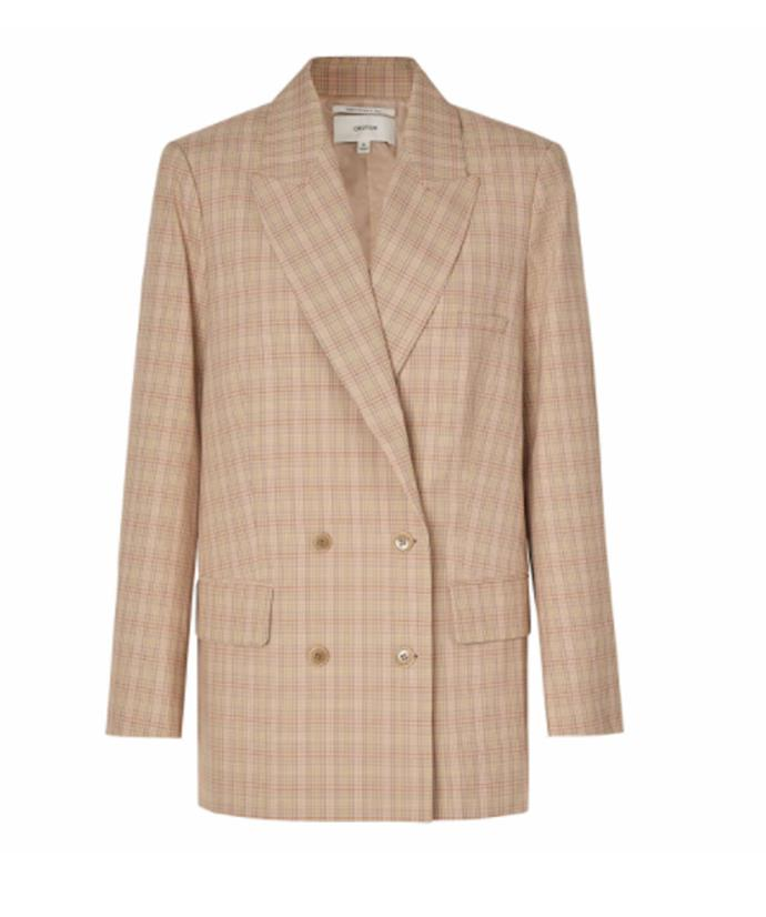 "Oroton Check Blazer, $599; available at [Oroton](https://oroton.com/check-blazer-camel-10? target=""_blank"" rel=""nofollow"")"