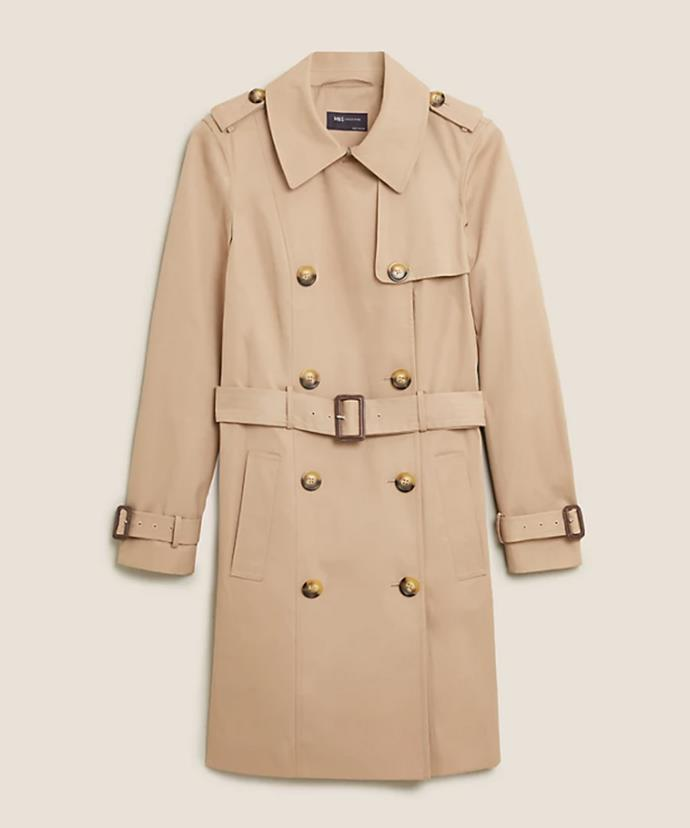 """Marks & Spencer Double Breasted Belted Trench Coat, $119; available at [Marks & Spencer](https://www.marksandspencer.com/au/double-breasted-belted-trench-coat/p/P60493103.html target=""""_blank"""" rel=""""nofollow"""")"""