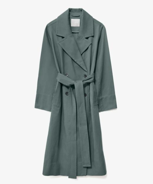 """Everlane The Drape Trench, $218; available at [Everlane](https://www.everlane.com/products/womens-slouchy-trench-green-balsam target=""""_blank"""" rel=""""nofollow"""")"""
