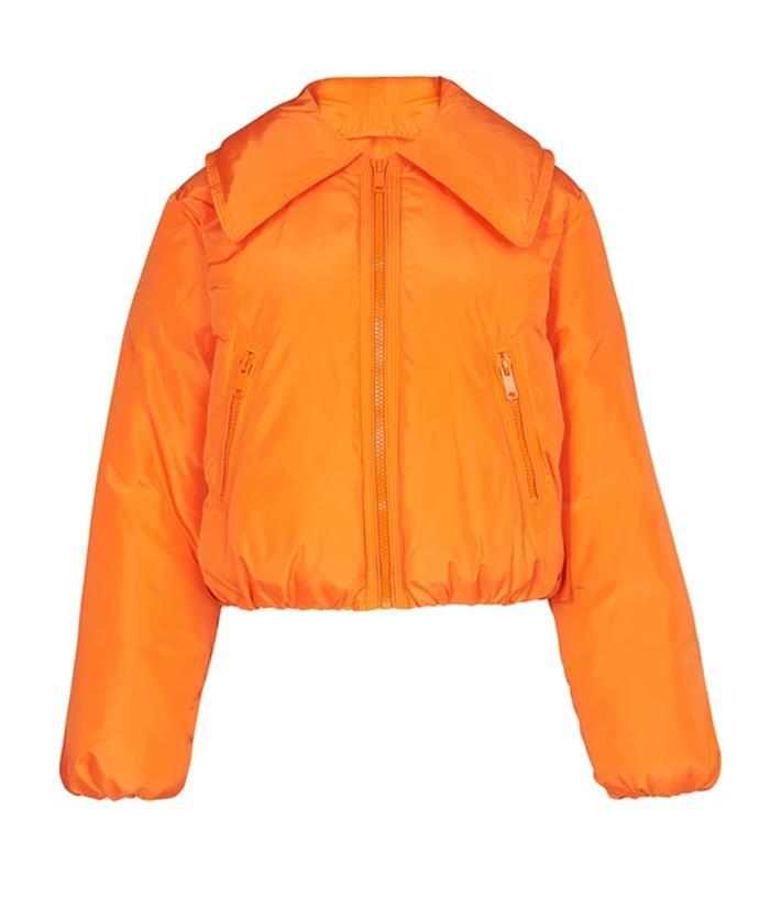 "GANNI Tech Down Jacket, $500; available at [24S](https://www.24s.com/en-au/tech-down-jacket-ganni_GAN4CBRX?defaultSku=GAN4CBRXORAWD03400&color=Orange&lgw_code=6695-GAN4CBRXORAWD03400&gclid=CjwKCAjw6fCCBhBNEiwAem5SO2DcysgjJIeZS1TEi-4u1r3T70MctYcZBeKNaLh459zvo67da8qJQxoCEM0QAvD_BwE&gclsrc=aw.ds target=""_blank"" rel=""nofollow"")"
