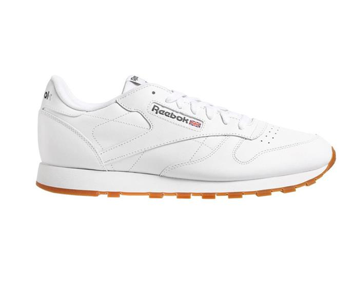 """Reebok Classic Leather, $130; available at [THE ICONIC](https://www.theiconic.com.au/classic-leather-unisex-703702.html