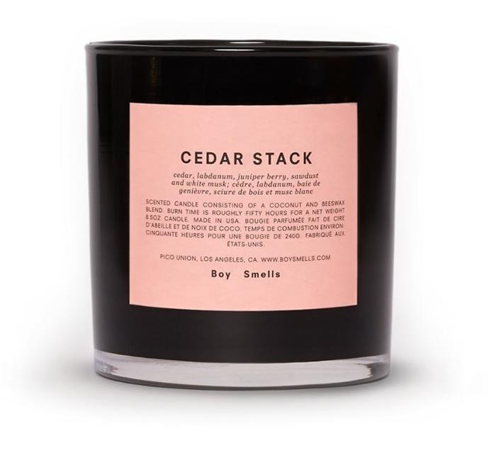 """**Cedar Stack Candle, $63 by Boy Smells at [Smallable](https://fave.co/3sMkwpS