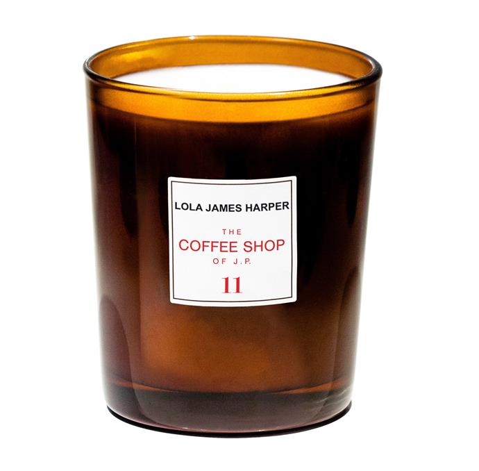 """**The Coffee Shop of J.P. Candle, $79 by Lola James Harper at [Adore Beauty](https://fave.co/3fnUR3d