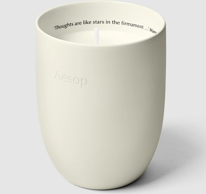 """**Aganice Aromatique Candle by Aesop, $135 at [Aesop](https://www.aesop.com/au/p/home/home-formulations/aganice-aromatique-candle/