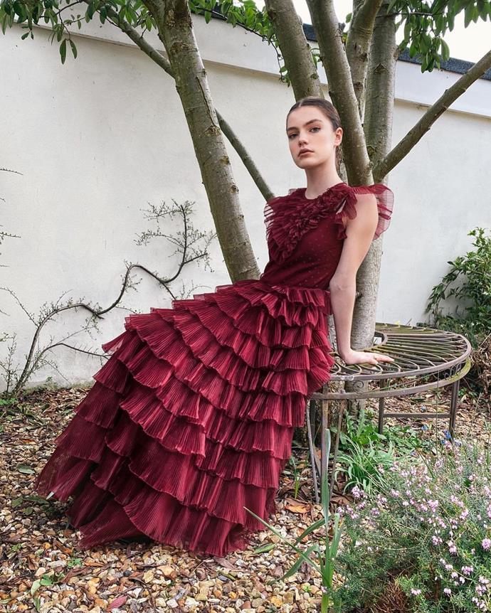 "Florence Hunt in REDValentino. <br><br>Image via Instagram [@florencehunt_](https://www.instagram.com/p/CNQvLtAjpo7/ target=""_blank"" rel=""nofollow"")."