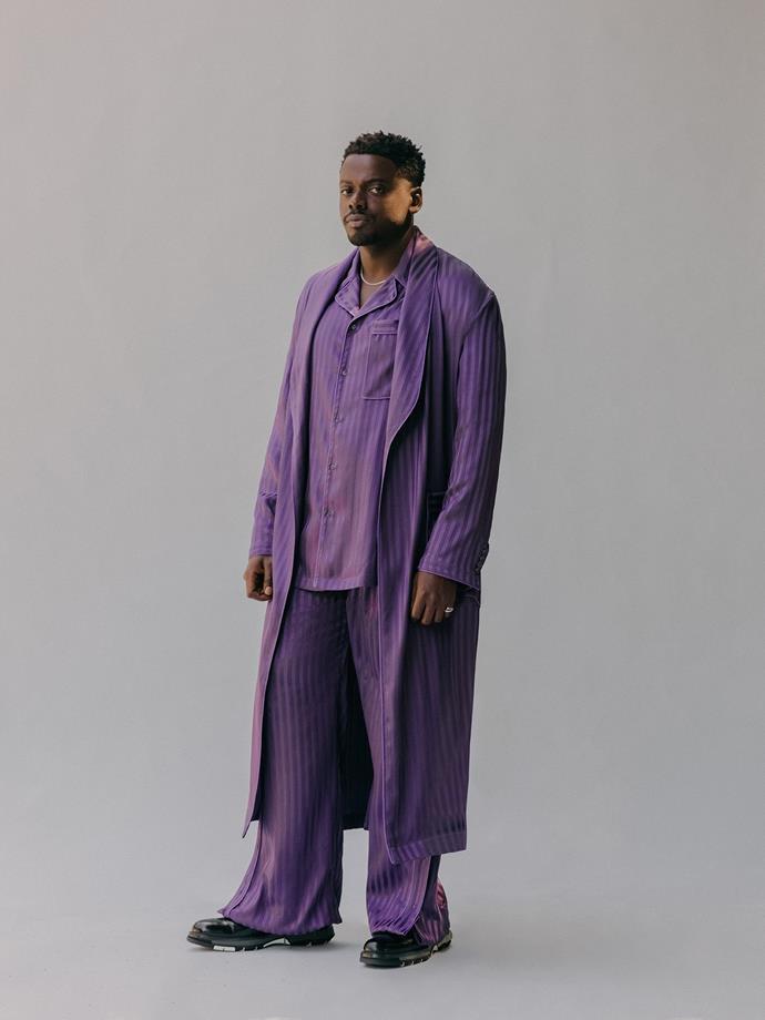 Daniel Kaluuya in Louis Vuitton and Cartier. <br><br>Image via Micaiah Carter.