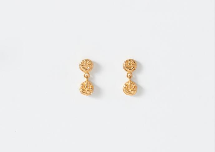 """'Visage' Earrings in Yellow Gold Plate, $195 at [Lucy Folk](https://lucyfolk.com/products/visage-earrings-yellow-gold-plate