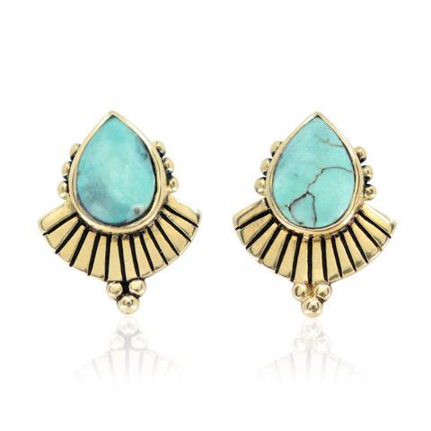 """'Cleopatra' Turquoise Gold Earrings, $89 at [Toni May](https://www.tonimay.com.au/collections/earrings