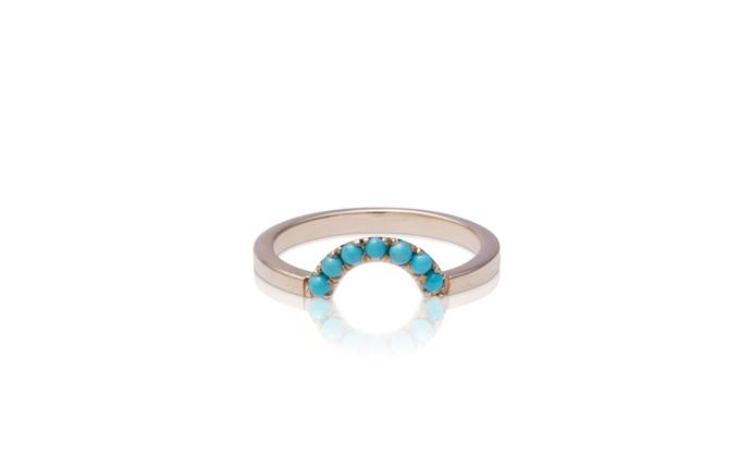 """Arch Nesting Band in Turquoise Yellow Gold, $960 at [Babyanything](https://babyanything.com.au/product/arch-turquoise-nesting-band/