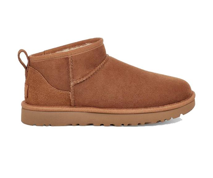"""Ugg Classic Ultra Mini Boot in Chestnut, $190; available at [Ugg](https://fave.co/3cOEzyx