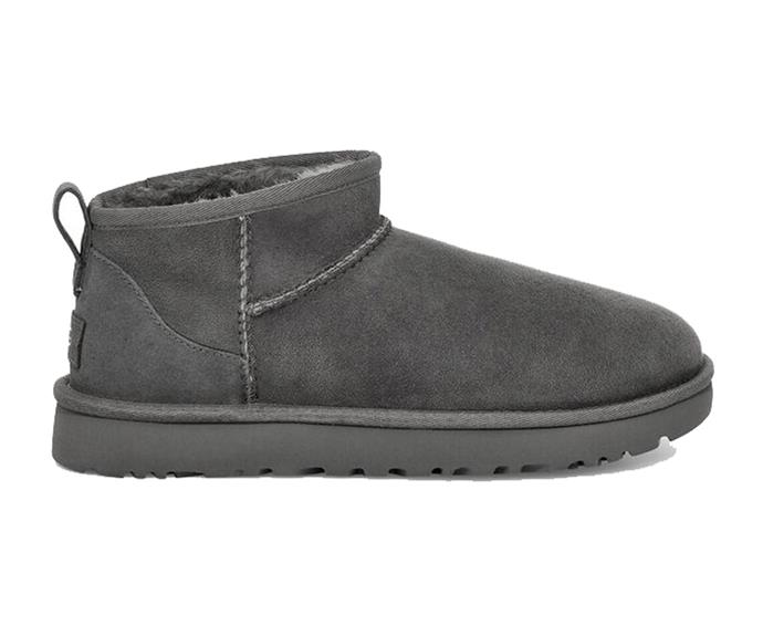 """Ugg Classic Ultra Mini Boot in Grey, $190; available at [Ugg](https://fave.co/39KprAy