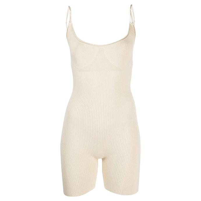 """Body Short cycling playsuit by Jacquemus, $565 at [Farfetch](https://fave.co/3t2Yf7B target=""""_blank"""" rel=""""nofollow"""")."""