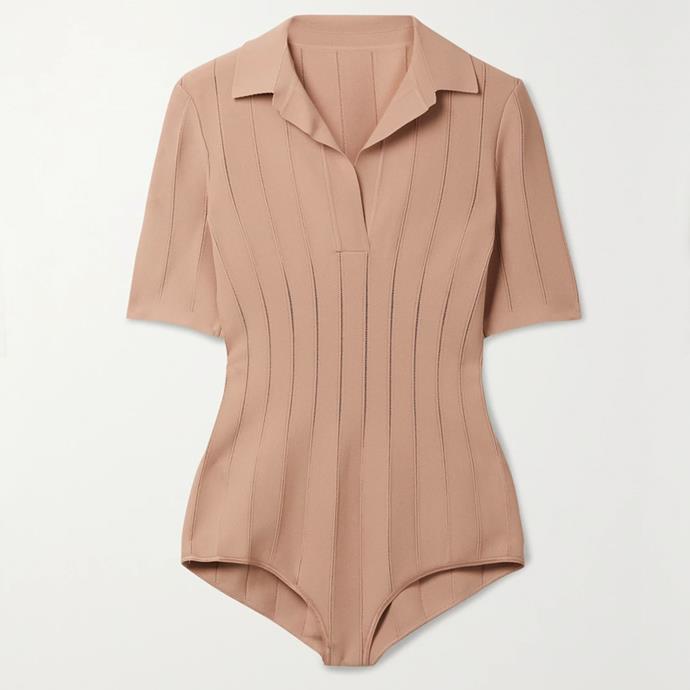 "Pointelle-trimmed stretch-knit bodysuit by Alaïa, $2401 at [Net-A-Porter](https://fave.co/3rXdPjK target=""_blank"" rel=""nofollow"")."