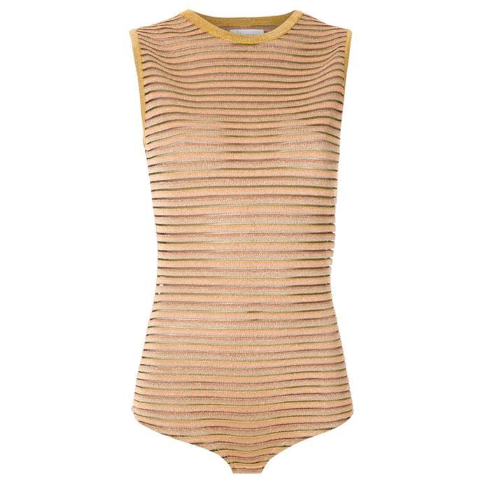 "Bever striped bodysuit by Nk, $384 at [Farfetch](https://fave.co/2RaibXZ target=""_blank"" rel=""nofollow"")."