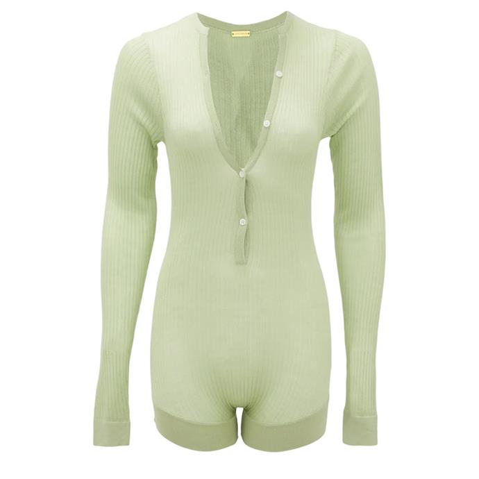 """Tommy buttoned rib-knitted silk bodysuit by Dodo Bar Or, $315 at [Matches Fashion](https://fave.co/39VYv0q target=""""_blank"""" rel=""""nofollow"""")."""