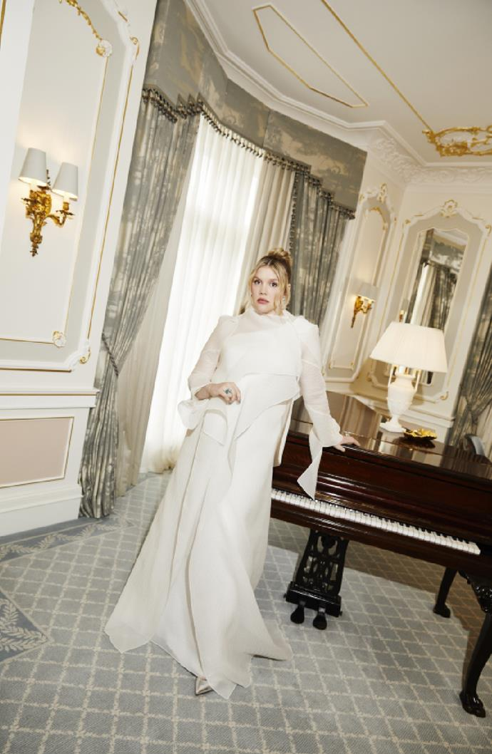 Emerald Fennell in Roland Mouret and Theo Fennell jewellery.