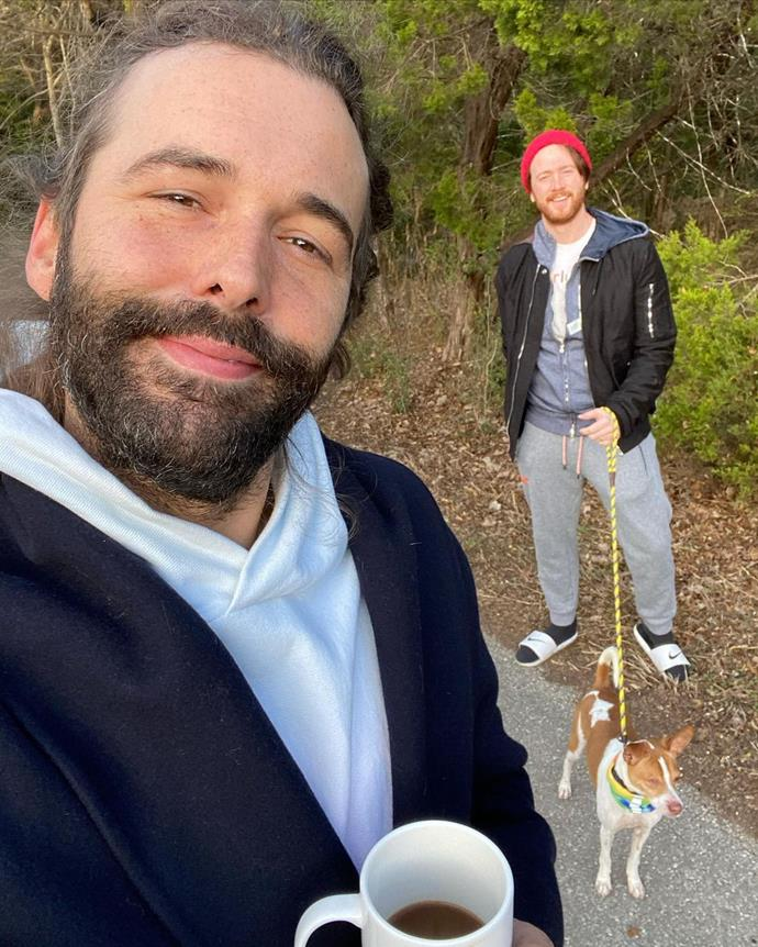 """In January 2021, **Jonathan Van Ness** revealed that he is married to with Mark Peacock, whose current occupation is unclear. On his podcast *Getting Curious with Jonathan Van Ness*, the hairstylist said the pair got hitched during quarantine and that he is his """"best friend"""".<Br><br>  At the end of January, JVN shared this sweet snap of himself with Peacock and their dog Pablo, writing in the caption: """"Morning strolls w huz & Pablo @marklondon 🏳️🌈🐶"""". <br><br>  *Image: [@jvn](https://www.instagram.com/p/CKoeEBig5Wj/