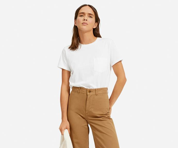 "Everlane The Organic Cotton Box-Cut Pocket Tee, $26; at [Everlane](https://www.everlane.com/products/womens-organic-cotton-box-cut-pocket-tee-white|target=""_blank""