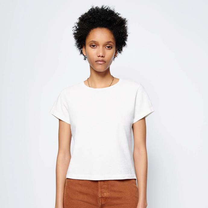 "RE/DONE Heritage Cotton Classic Tee, $‌135; at [RE/DONE](https://shopredone.com/collections/solid-tees/products/the-classic-tee-vintage-white?variant=32006929606|target=""_blank""