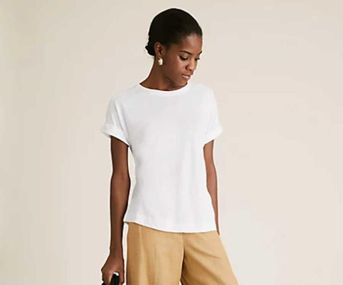 "M&S Collection Linen Crew Neck T-Shirt, $32.50; at [Marks & Spencer](https://www.marksandspencer.com/au/linen-crew-neck-straight-fit-t-shirt/p/P60494512.html?dwvar_P60494512_color=P6&pid=P60494512&quantity=1|target=""_blank""