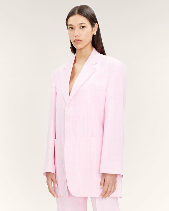 """**The experimental-coloured blazer** <br><br> Anyone can pull off a blazer in a vibrant hue, so make sure you're game enough. In terms of investment pieces in an exuberant shade, opt for an on-trend blue or hot pink, like Jacquemus' zesty pieces (which are well on their way to becoming new classics). <br><br> La veste d'homme oversized suit jacket by Jacquemus, $1,480 at [Jacquemus](https://www.jacquemus.com/product/la-veste-d-homme-light-pink