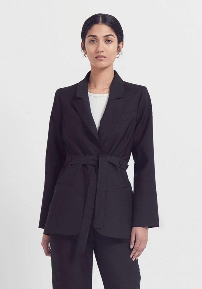 """**The wrap-waist blazer**  <br><br> Buttons? Overrated. Sometimes a wrap-style, robe-like blazer is just as chic, and has the power to create a dramatic silhouette, too. Though they're available in many forms, Viktoria and Woods' is as workwear-appropriate as it is everyday-cool.  <br><br> Frequency blazer by Viktoria and Woods, $500 at [Viktoria and Woods](https://viktoriaandwoods.com.au/collections/coats-jackets/products/frequency-blazer