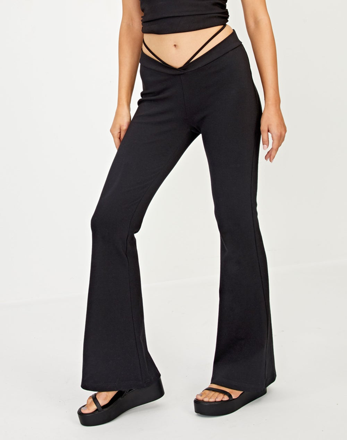 "Hit multiple trends at once with this low-rise strappy pair of pants from Glassons.<br><br>  *Strappy Low Rise Flare Pant, $49.99 from [Glassons](https://go.skimresources.com?id=105419X1569491&xs=1&url=https%3A%2F%2Fwww.glassons.com%2Fstrappy-low-rise-flare-pant-pw47927pln-black|target=""_blank""