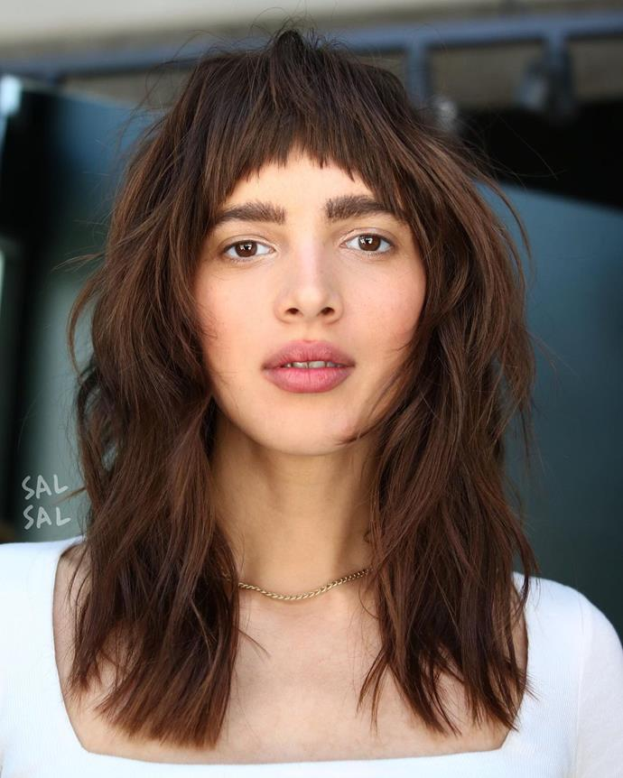 **The Long Shag Haircut With A Micro-Fringe**<br><br>  While it's similar to other long shag haircut styles, the addition of a micro-fringe is a way to add a lot of attitude and personality without going quite as far as a whole mullet.  <br><br>*Image via Instagram @salsalhair.*