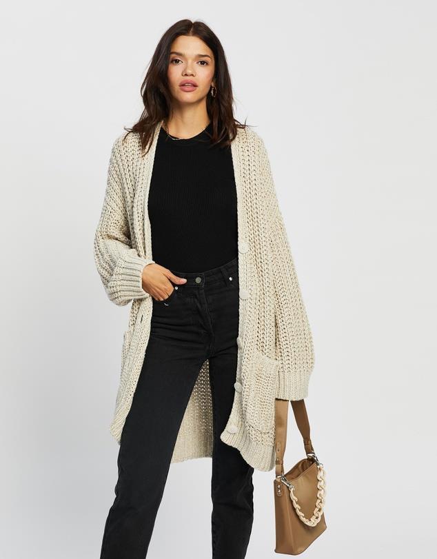 "AERE Organic Cotton Chunky Cardigan, $139; at [THE ICONIC](https://www.theiconic.com.au/organic-cotton-chunky-cardigan-1162666.html target=""_blank"" rel=""nofollow"")"
