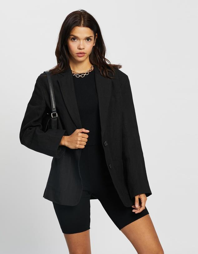 """AERE Oversized Linen Blazer, $150; at [THE ICONIC](https://www.theiconic.com.au/oversized-linen-blazer-1228176.html