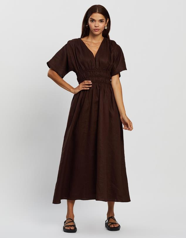 """AERE Linen Shirred Midi Dress, $169; at [THE ICONIC](https://www.theiconic.com.au/linen-shirred-midi-dress-1247208.html target=""""_blank"""" rel=""""nofollow"""")"""
