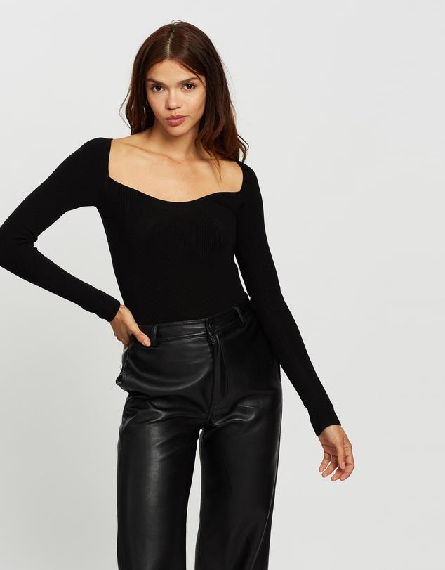 """AERE Sweet Heart Neckline Knit, $89; at [THE ICONIC](https://www.theiconic.com.au/sweet-heart-neckline-knit-1187223.html target=""""_blank"""" rel=""""nofollow"""")"""