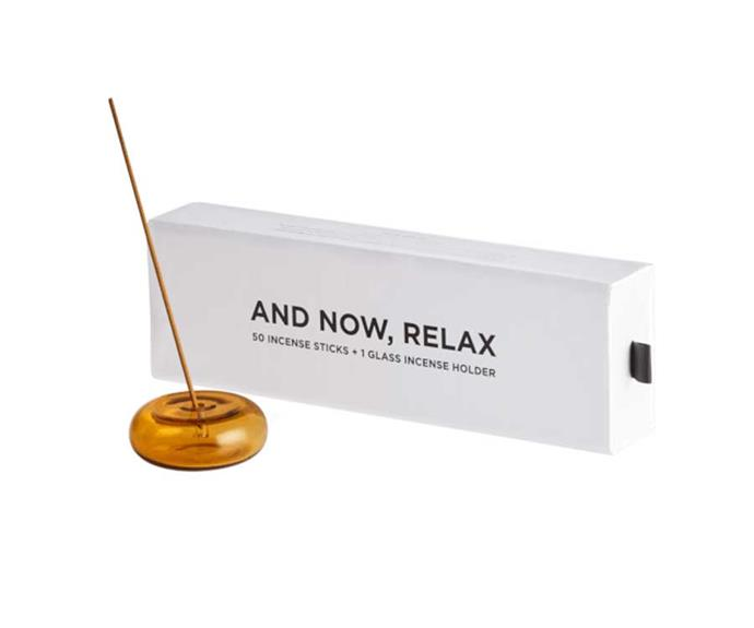"Maison Balzac And Now Relax Incense Set, $75; [shop here](https://www.adorebeauty.com.au/maison-balzac/maison-balzac-and-now-relax-incense-set-amber-pebble-with-soleil-incense.html|target=""_blank""